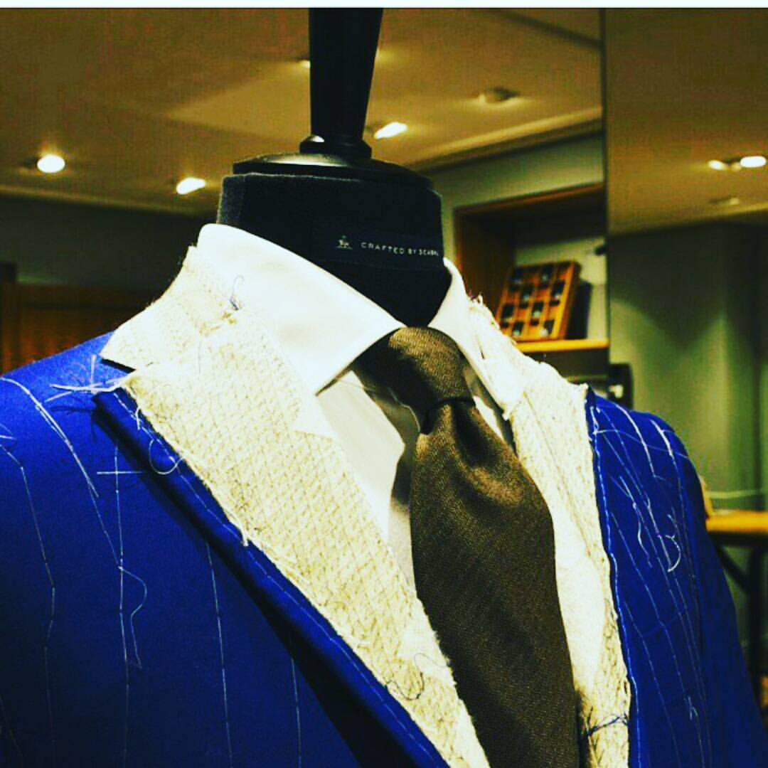 Scabal bespoke suit canvas fitting stage