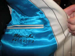 personalised dated lining of wedding suit jacket